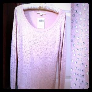 Boston Proper Sweater Rhinestone pink romance S M